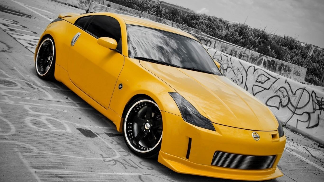 nissan 350z  japan  tuning  racing  wheels  yellow  HD  HD Wallpaper