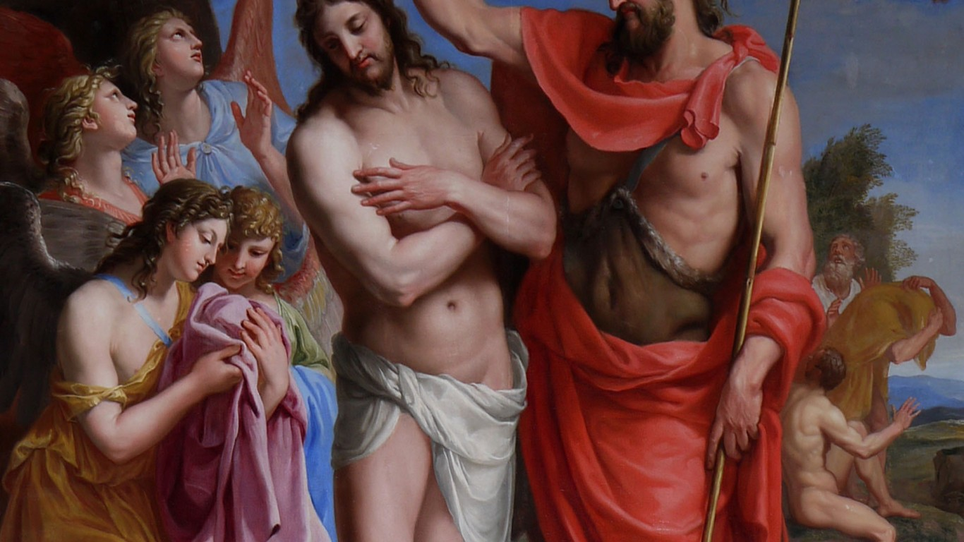 The Baptism Of Christ   Jacques Stella   wiki  HD Wallpaper
