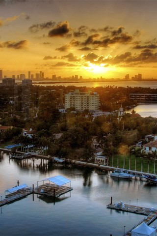 Miami Sunset Landscape United States   Top travel lists HD Wallpaper