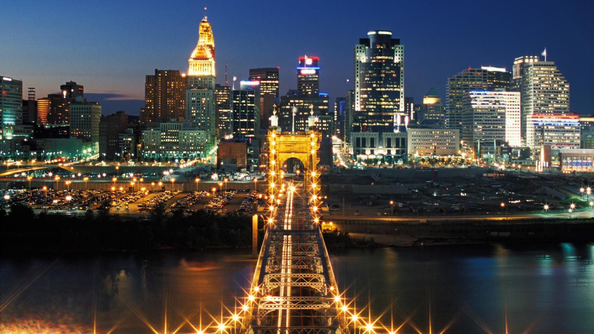 John A Roebling Suspension Bridge and Cincinnati Skyline   Travel HD Wallpaper